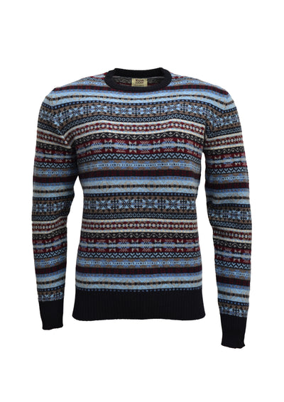 William Lockie Fairisle Crew Neck Sweater in Navy Lambswool