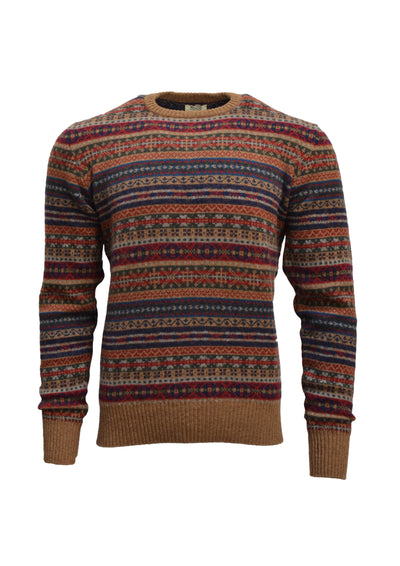 William Lockie Fairisle Crew Neck Sweater in Savannah Lambswool
