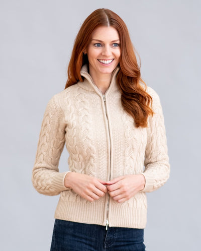 William Lockie Bomber Cable Zip Jacket In Cashmere