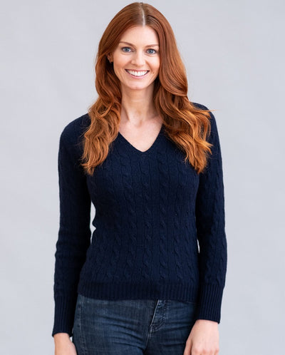 William Lockie Candice Vee Neck Sweater in Cashmere