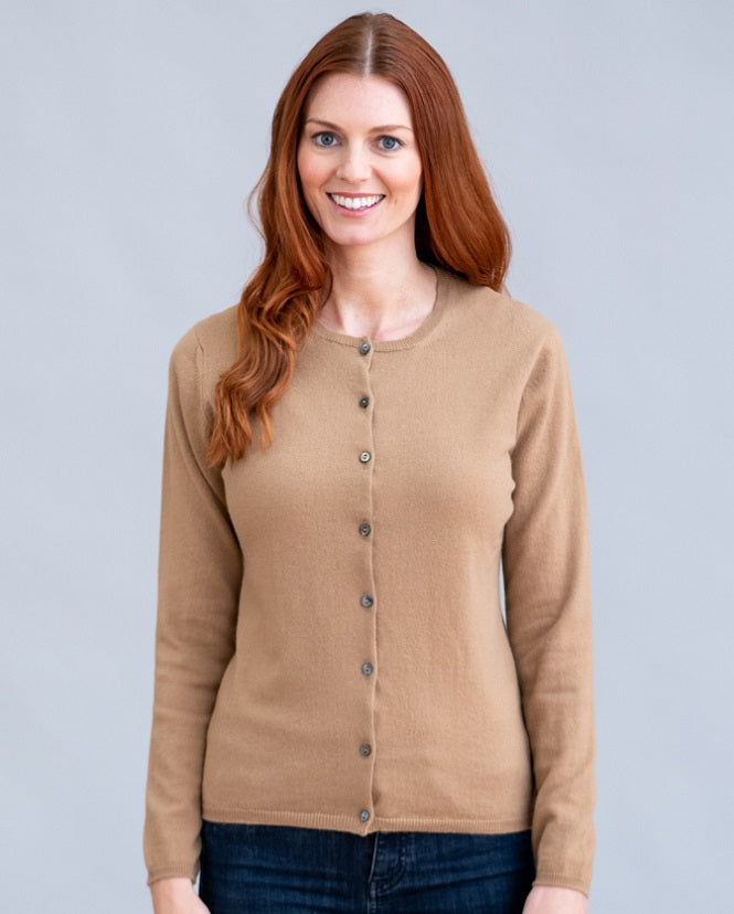 William Lockie Charlotte High Button Cardigan in Cashmere