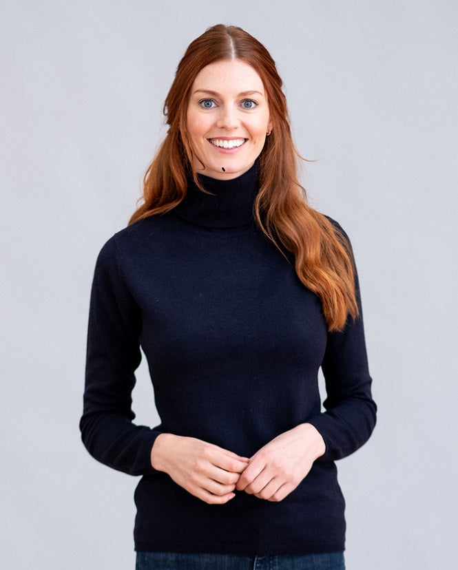 William Lockie Charlotte Roll Collar Sweater in Cashmere