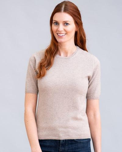 William Lockie Charlotte Short Sleeved Crew Neck Sweater in Cashmere