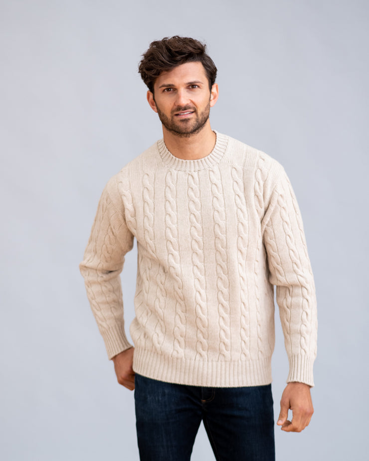 William Lockie Chirnside Cable Crew Neck Sweater in Cashmere