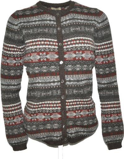 William Lockie Leontien Fairisle High Button Cardigan in Lambswool