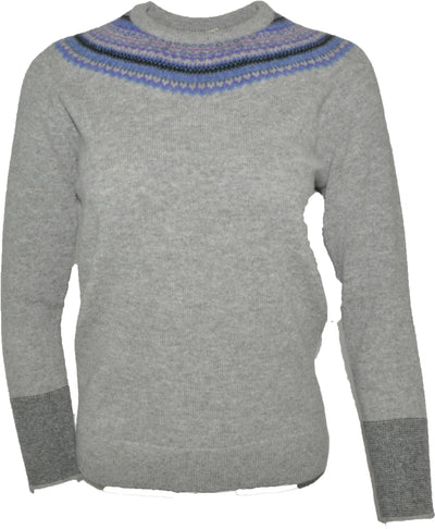 Fairisle Yoke Crew Neck Sweater in Lambswool