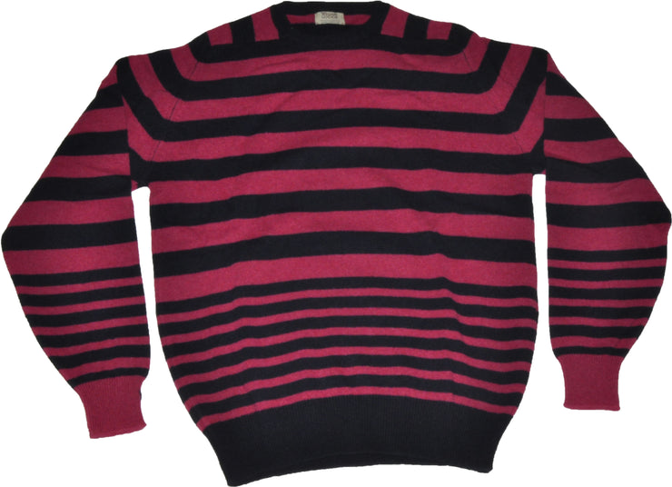 100% Lambswool Vegas Stripe Crew Neck