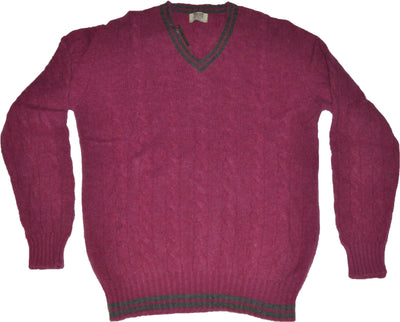 Super Geelong Lambswool Loganberry V Neck