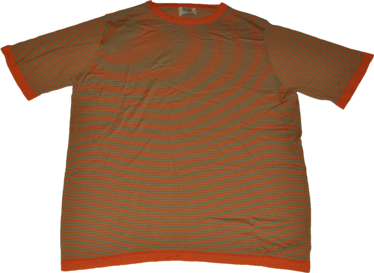 Superfine Merino Wool Orange/Green Striple Crewneck Tshirt
