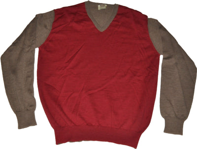 Pure Merino Red V Neck Mushroom Sleeves