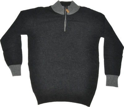 Super Geelong Lambswool Charcoal Short Zip