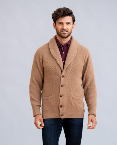William Lockie Windsor Shawl Collar Cardigan in Natural Camelhair