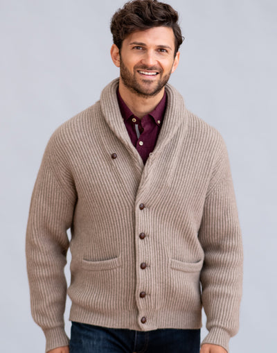 William Lockie Windsor Shawl Collar Cardigan in Cashmere