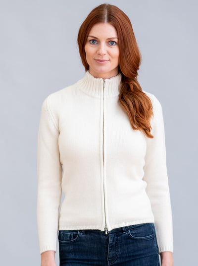 William Lockie Zola Zip Cardigan in Cashmere