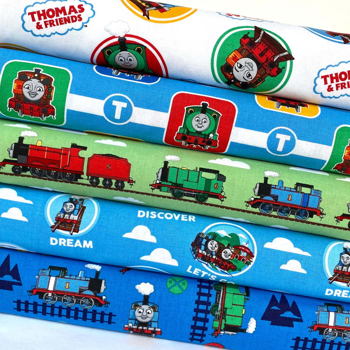 Thomas The Tank Engine, 5 piece fat quarter bundle, 100% cotton