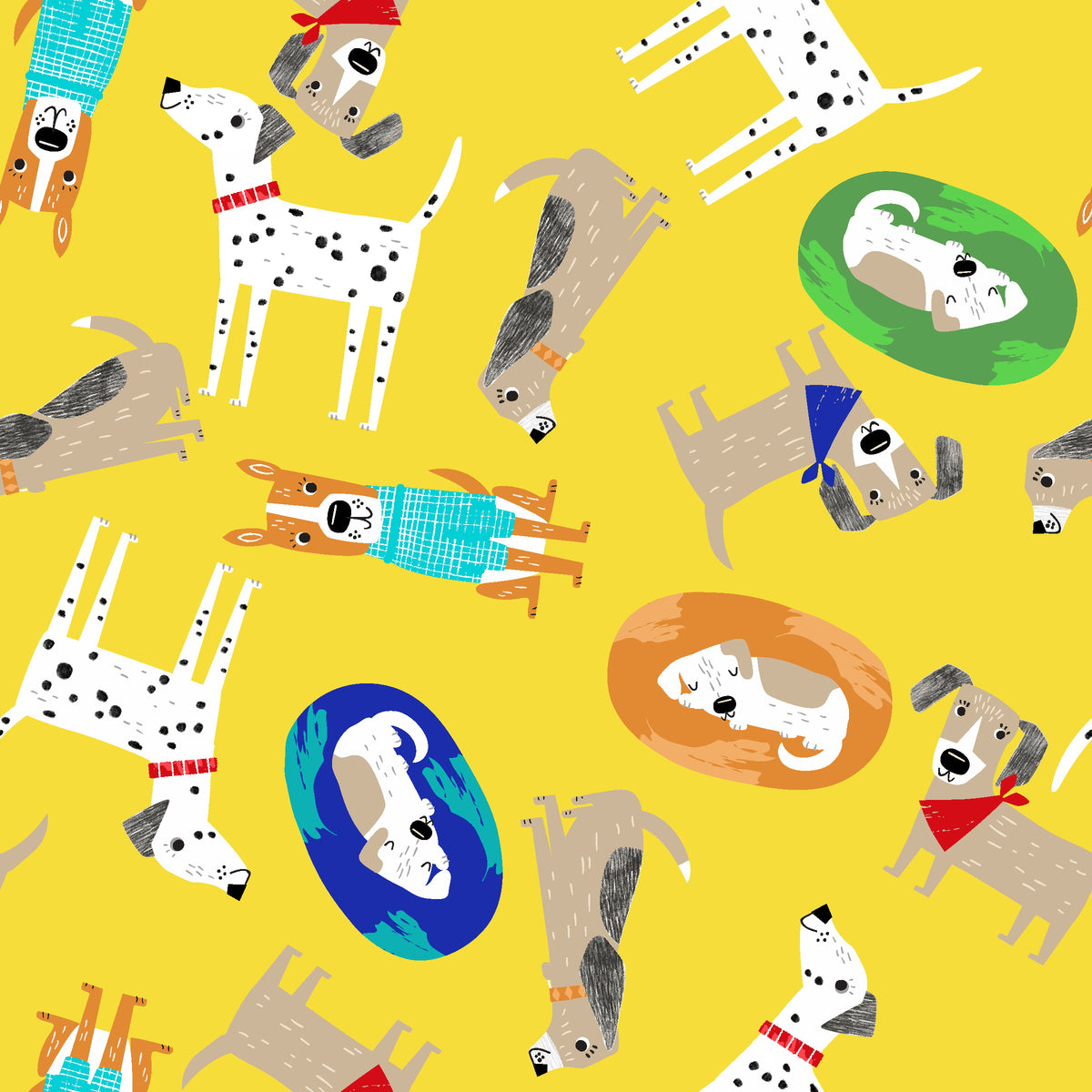 Best Friends Fur Ever Yellow 100% cotton fabric, sold per 1/2 metre, 112cm wide