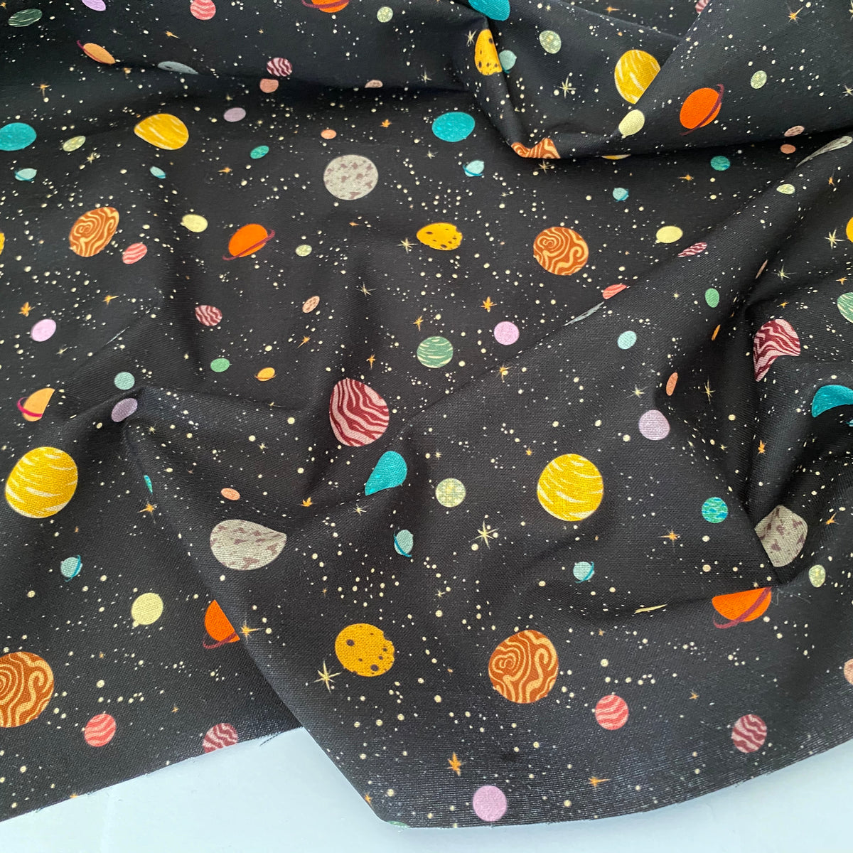 Outer Space planets black 100% cotton fabric, sold per 1/2 metre, 112cm wide