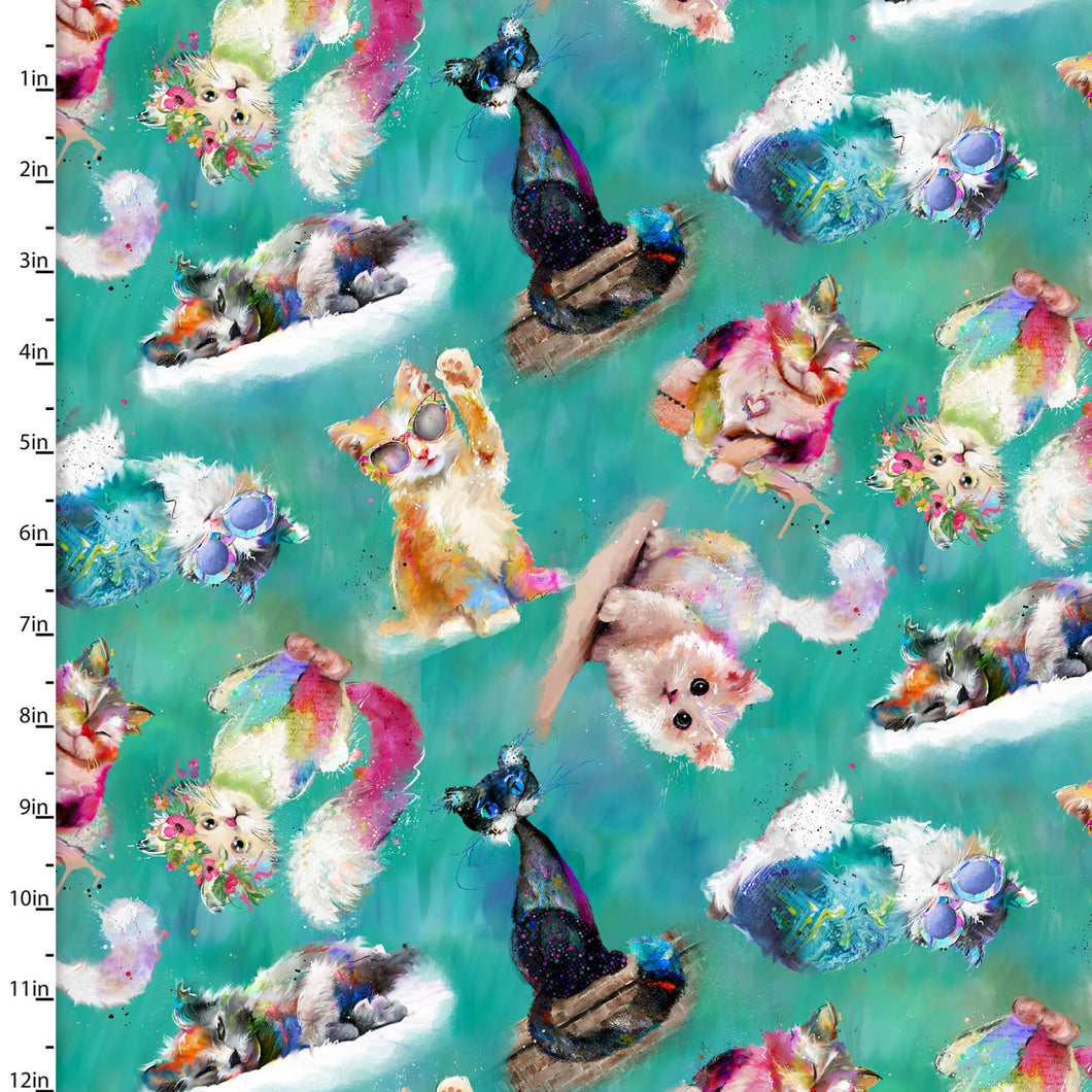 Good Kitty Green 100% Premium Cotton fabric, sold  Per 1/2 Metre