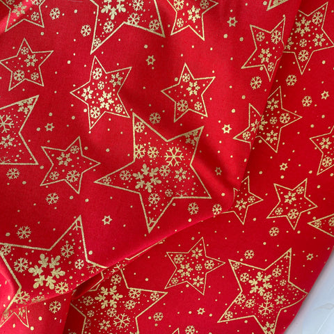 Red Christmas Metallic Stars fabric, 100% Cotton, sold per 1/2 metre 112cm wide