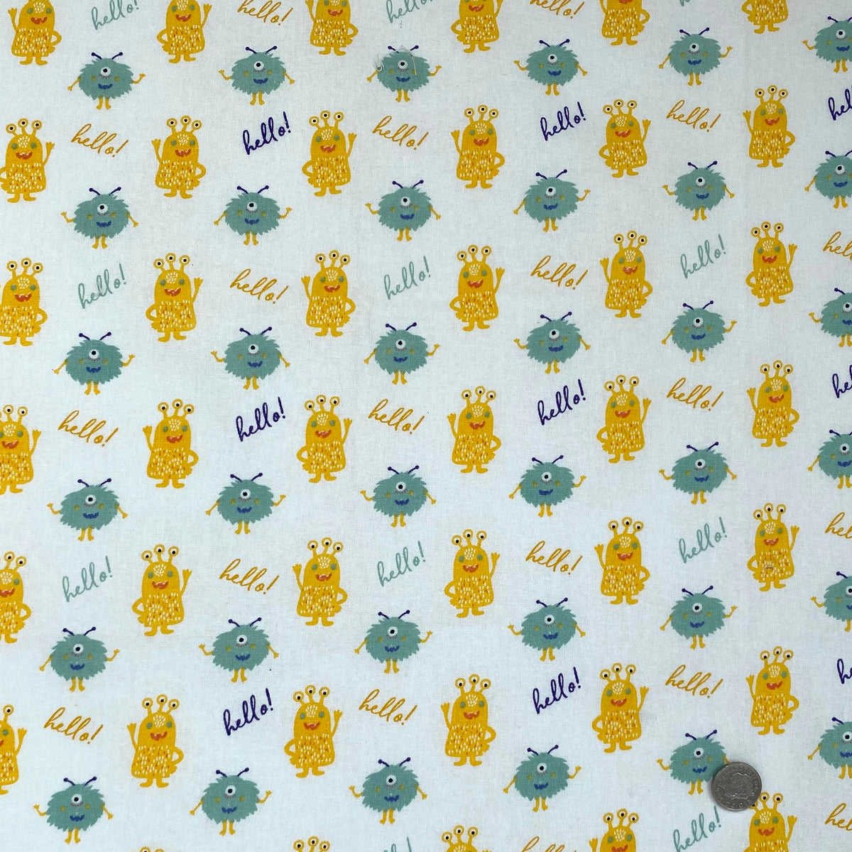 Cutest little friendly monster HELLO  100% Cotton  Fabric,  112cm wide sold per 1/2 metre