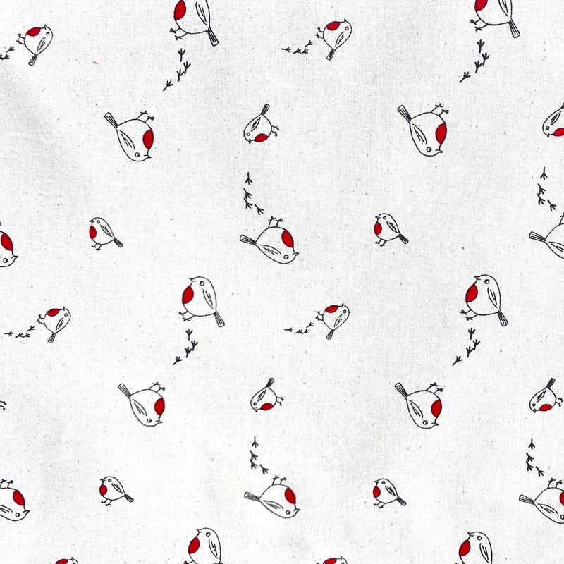 Hopping Robins on Natural Christmas fabric sold per 1/2