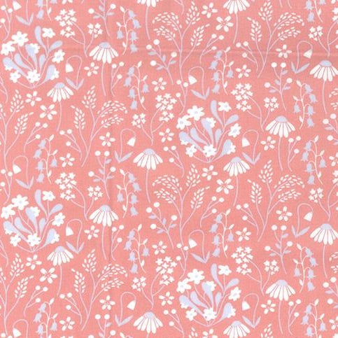 Snowdrops & daisies rose pink 100% cotton poplin fabric, sold per 1/2 metre, 112cm wide