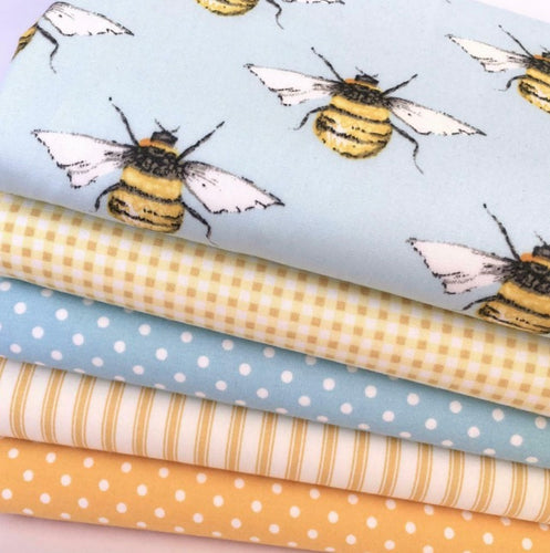 Busy Bees, Sky Blue, 5 piece, Fat Quarter Bundle, 100% Cotton Fabric, for patchwork ~