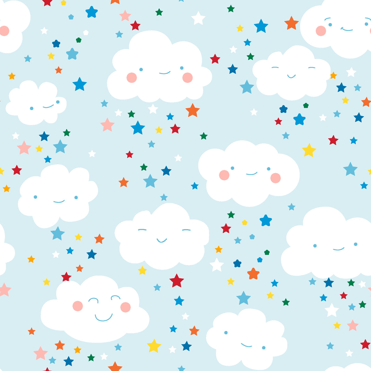 Happy Clouds & Rainbows smiley clouds 100% cotton fabric, sold per 1/2 metre, 112cm wide