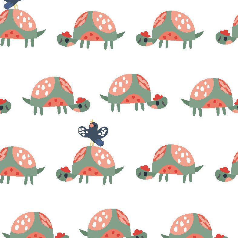 Wild About You Tortoise & butterfly  design 100% cotton fabric, sold per 1/2 metre, 112cm wide
