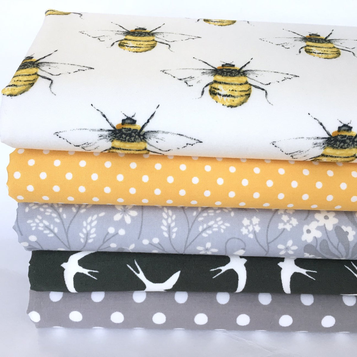 Bees & birds 5 piece 100% cotton fabric bundle,