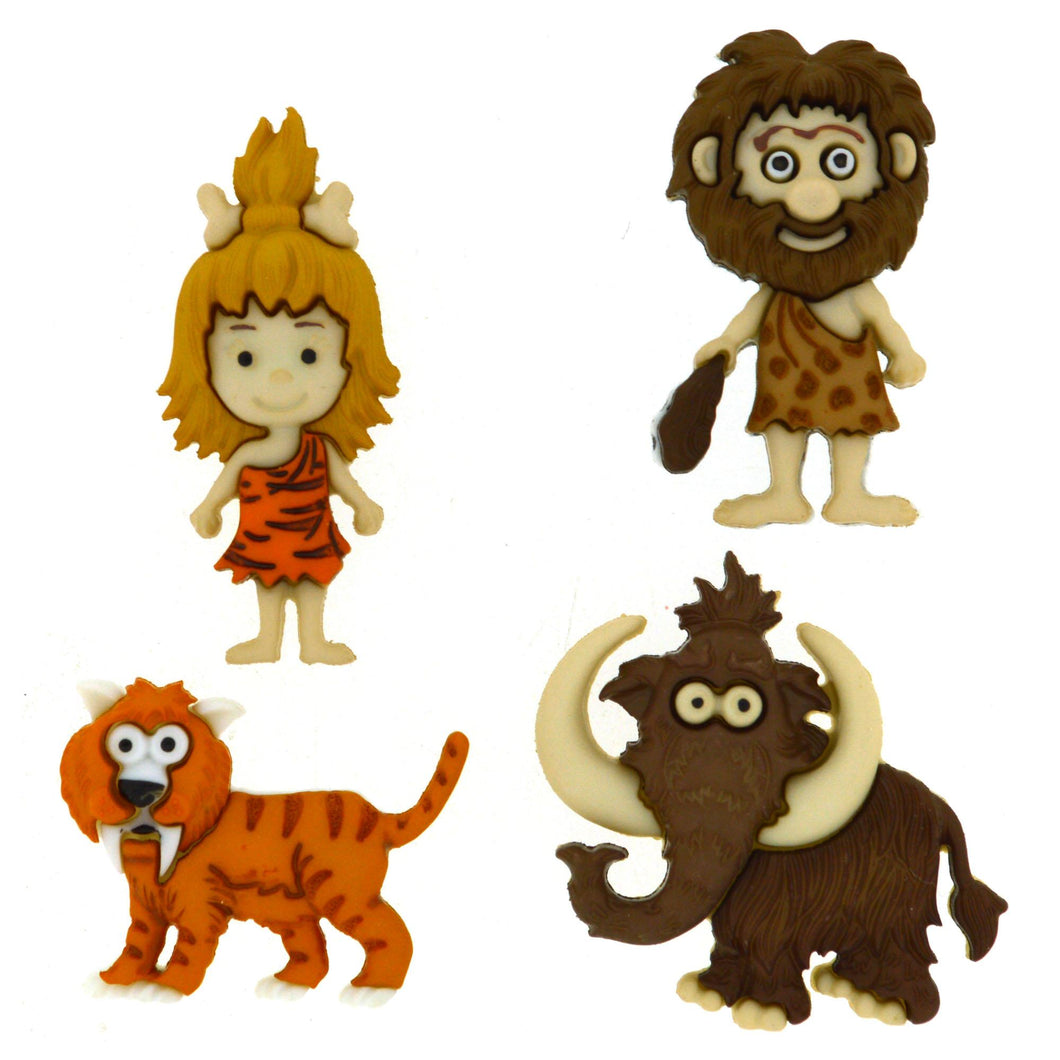 Stone Age dress it up buttons, 4 cute themed designs