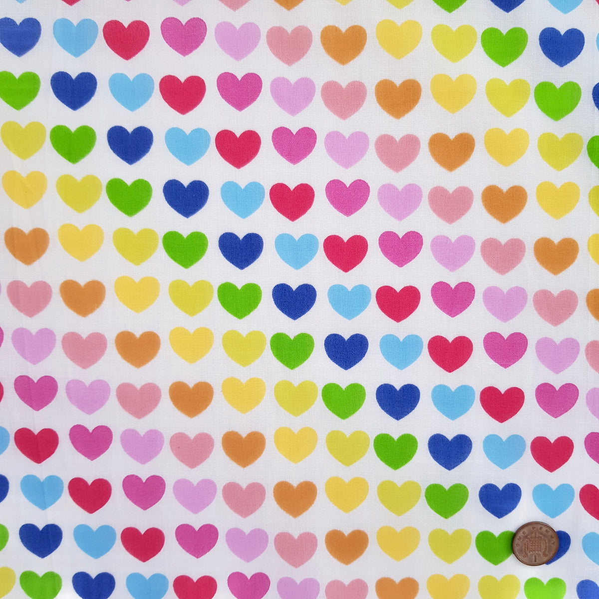 Rainbow Hearts Polycotton Fabric per 1/2 metre 112cm wide