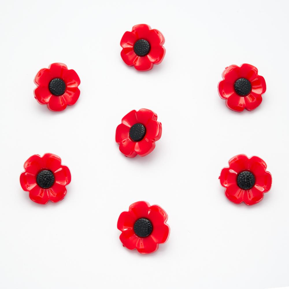 Poppy buttons,  18mm, sold per 10 buttons, shank on back of buttons