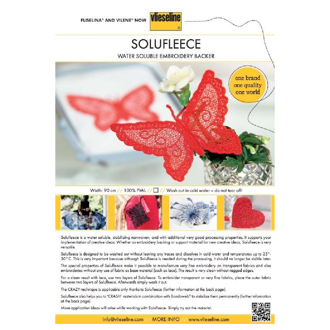 Solufleece Water Soluble Embroidery Backer 90cm Sold Per Metre