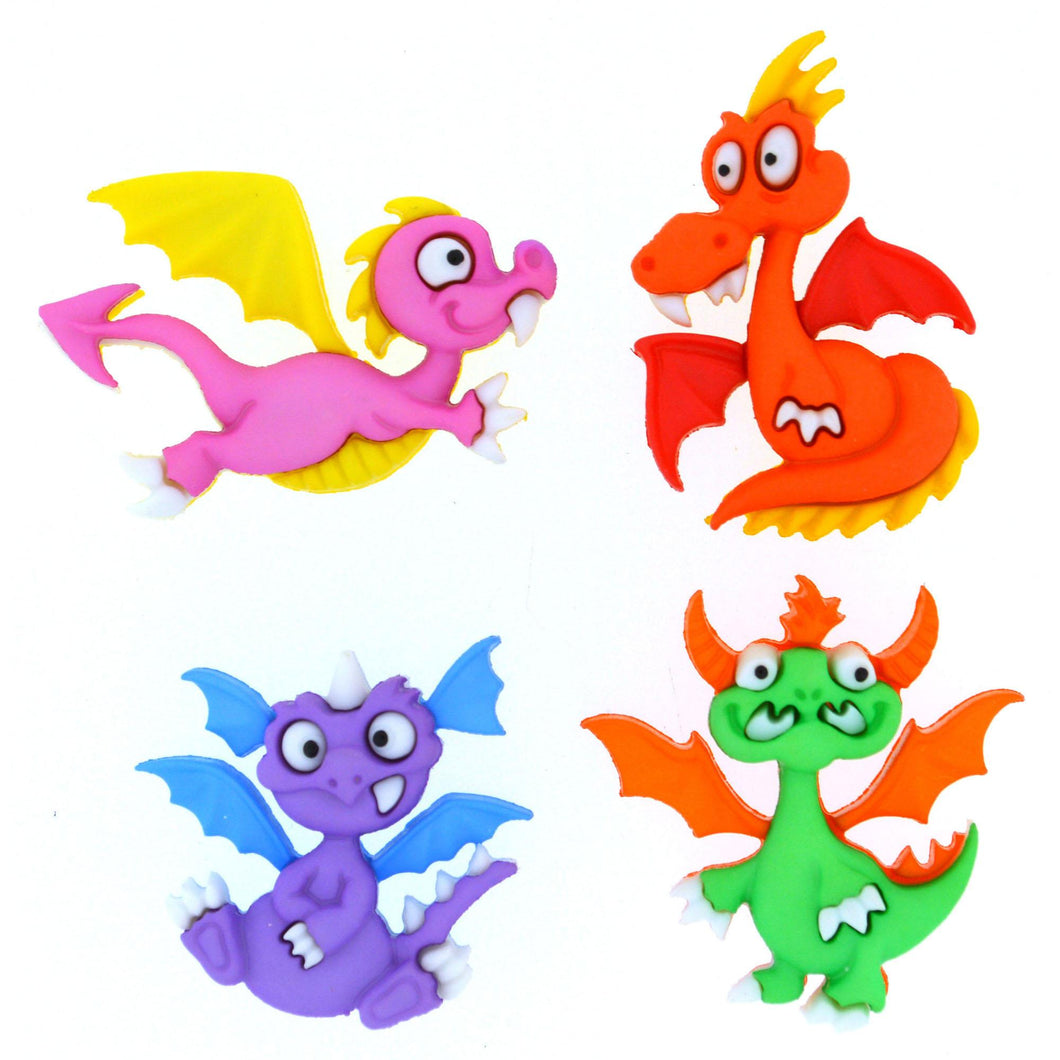 Dragon tale dress it up buttons, 4 fierce dragon embellishments