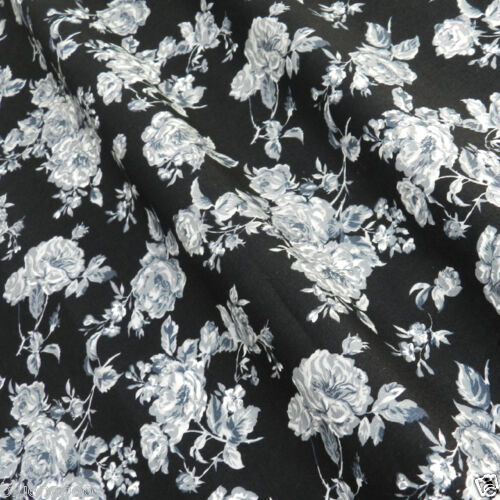 Eliza Rose, Black,  Grey & Ivory Cotton Poplin Fabric sold per half metre, 112cm wide