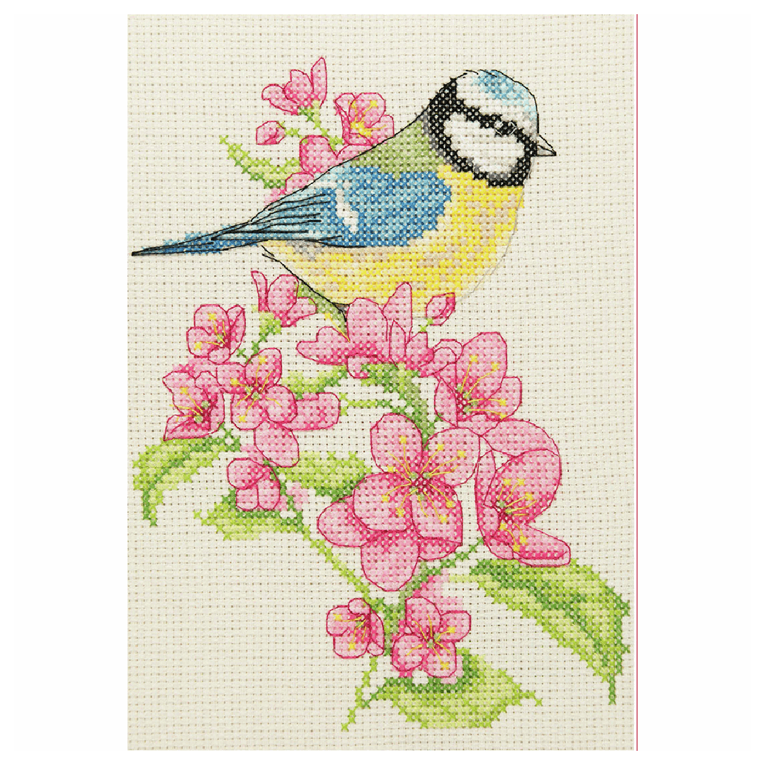Cross Stitch Kit, Bluetit and Blossom suitable for beginners