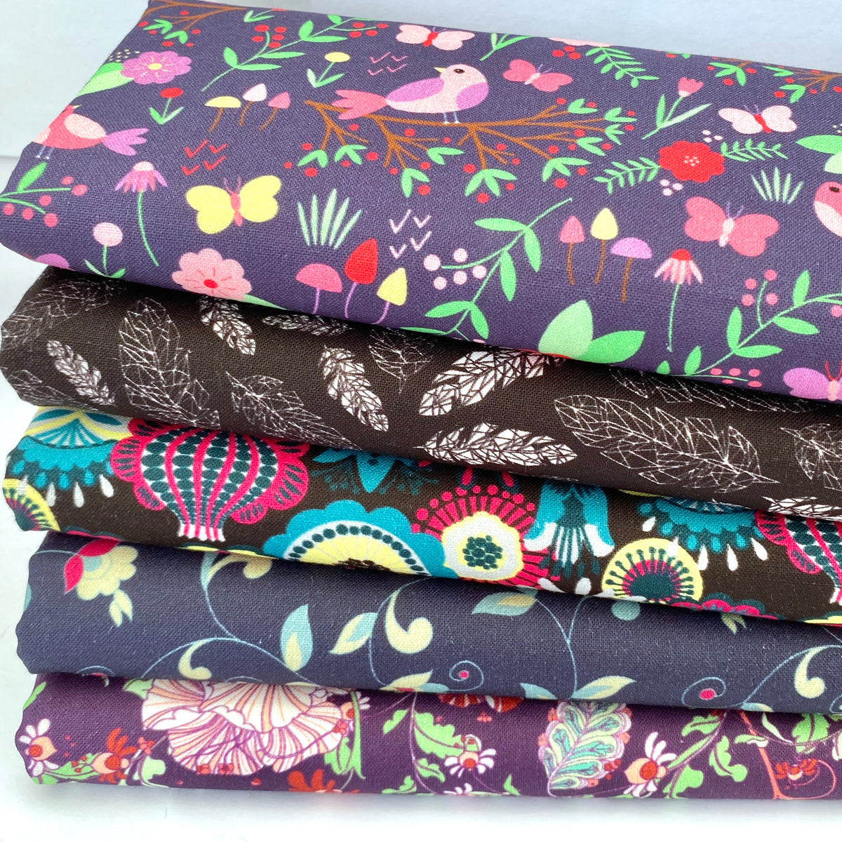 Hip Florals, 5 piece, fat quarter bundle, 100% cotton fabric,