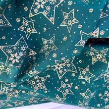 Green Christmas Metallic Stars fabric, 100% Cotton, sold per 1/2 metre 112cm wide
