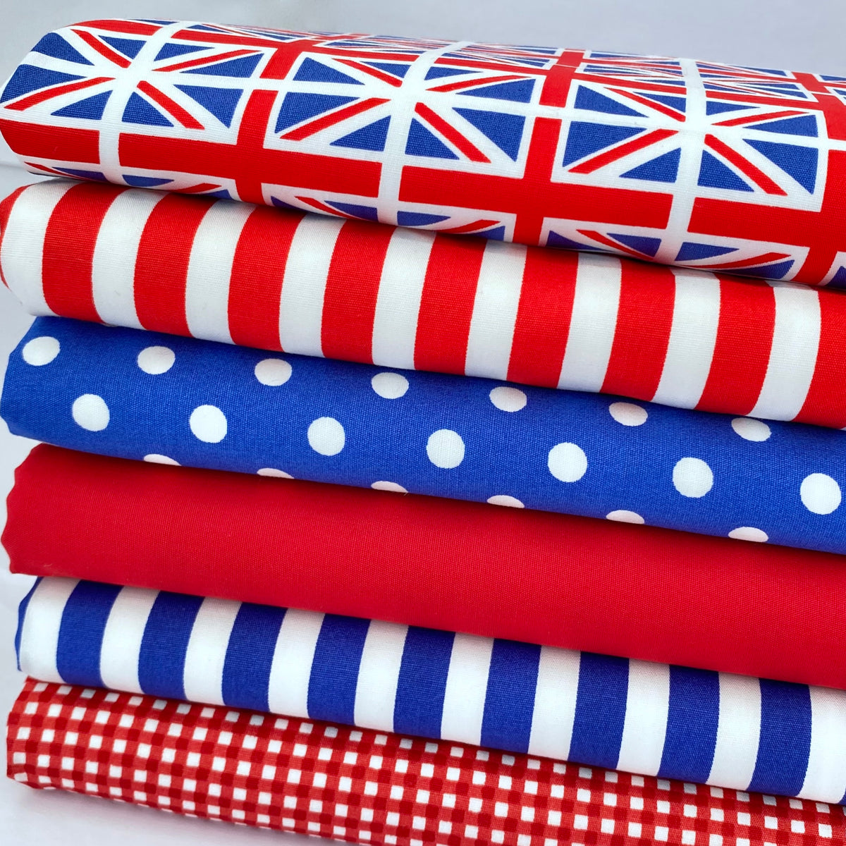 Union Jack, patriotic red, white & blue 100% cotton fabric bundle