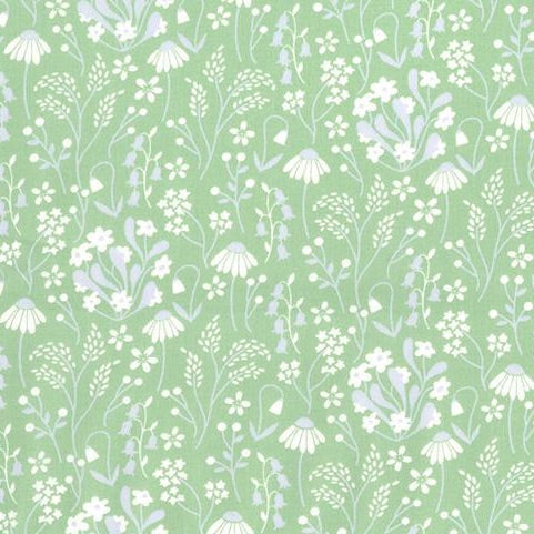 Snowdrops & daisies green 100% cotton poplin fabric, sold per 1/2 metre, 112cm wide