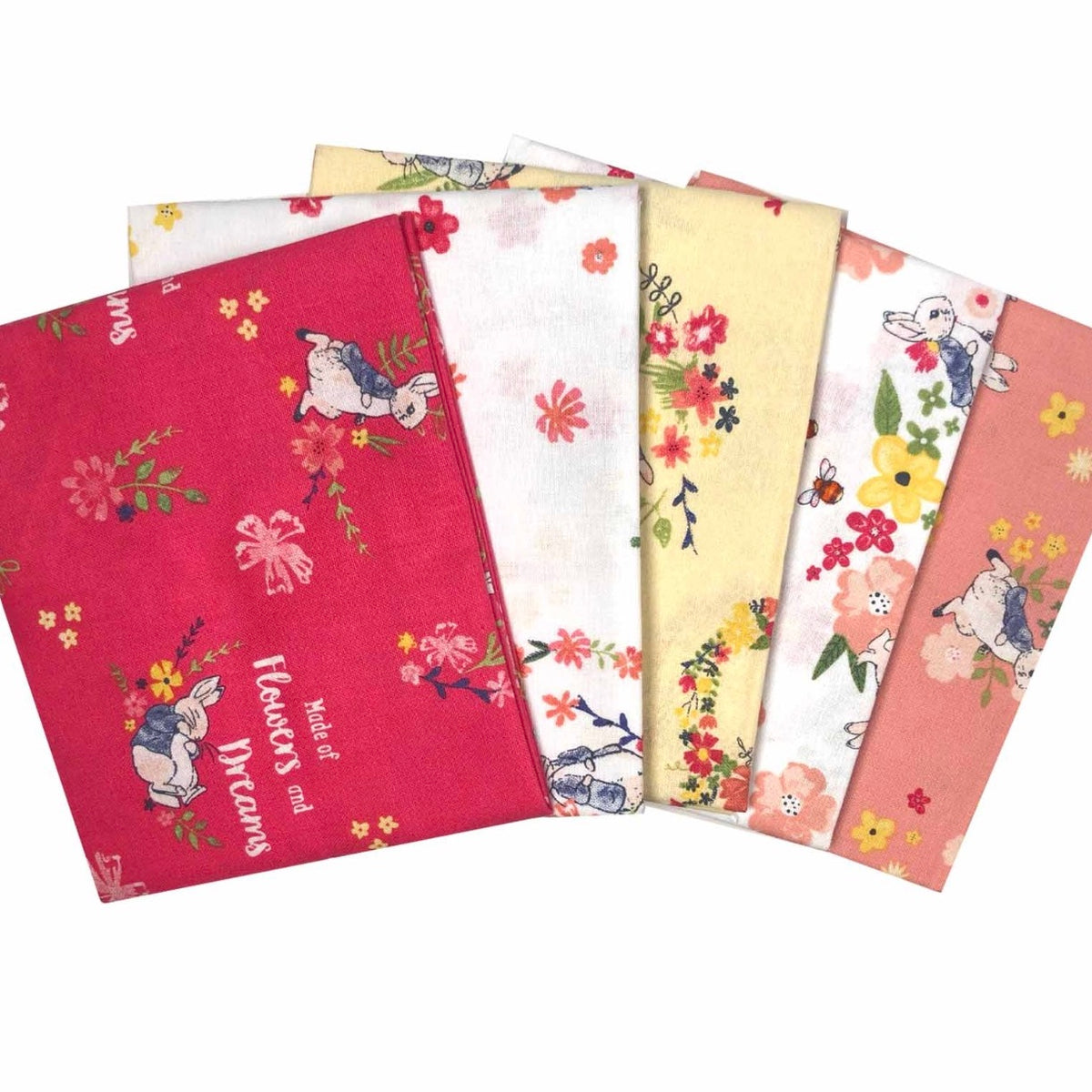 NEW 5 piece Peter rabbit fat quarter bundle  100% Cotton