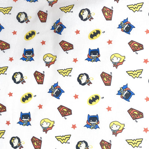 Justice league girl heroes, pale pink 100% Cotton Fabric Per 1/2 Metre, 112cm  Wide