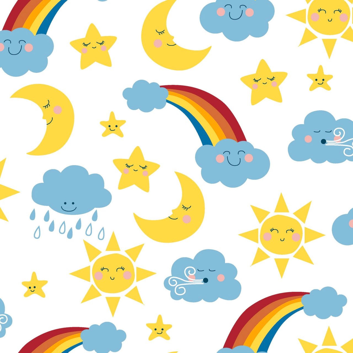 Happy Clouds & Rainbows 5 piece fat quarter bundle, 100% cotton fabric,