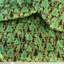Green & gold Christmas trees  fabric, 100% Cotton, sold per 1/2 metre