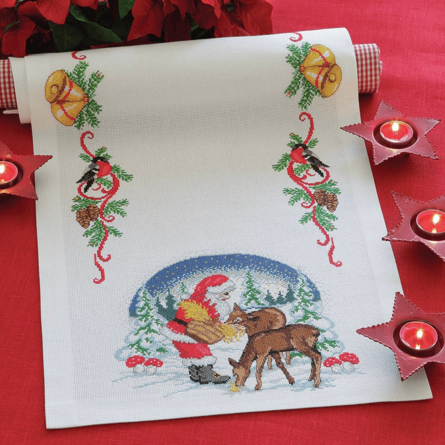 Anchor Cross Stitch Kit, Santa & Deer suppers Table Runner suitable for beginners