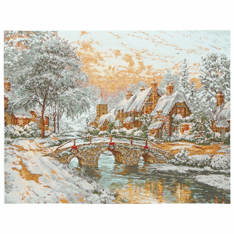 Counted Cross Stitch Kit Maia Collection Cobblestone Christmas Finished size: 35 x 35cm