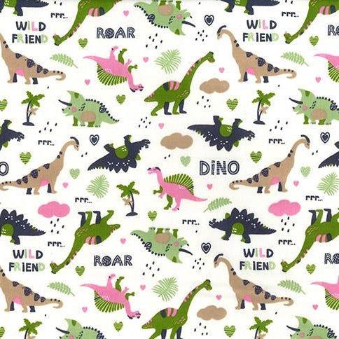 Dinosaur Land Ivory 100% cotton poplin fabric, sold per 1/2 metre