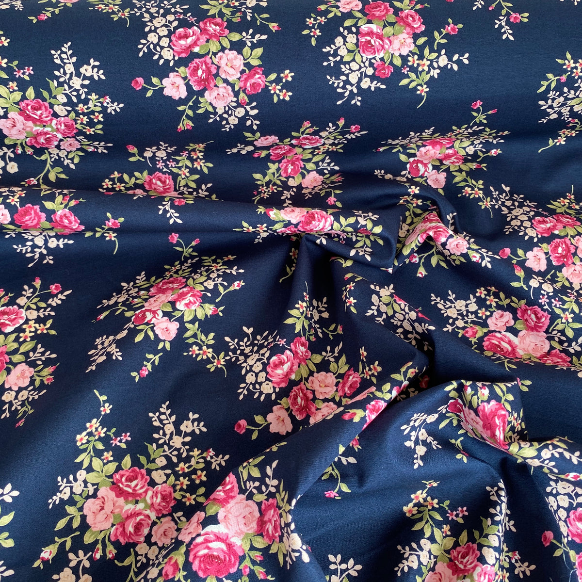Sophie Floral Roses, navy blue Fabric, 112cm wide, 100% Cotton Poplin Fabric by the half metre