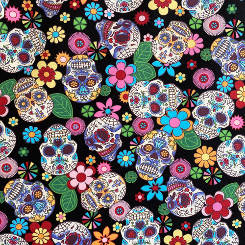 Black Funky sugar Skulls, Cotton Fabric, by the half metre, 112cm wide